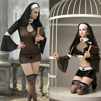 Sexy Nun Fancy Dress Halloween Costume Habit Ladies Hen Party Black Lingerie