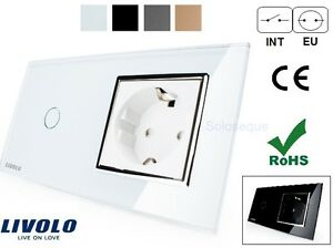 INTERRUPTOR-ENCHUFE-LUZ-PARED-CRISTAL-TACTIL-EU-LIVOLO-Touch-Switch-Socket