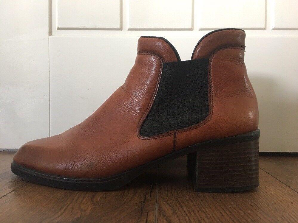 Rieker Ladies Chelsea Boots Tan Leather Size 41 Reiker
