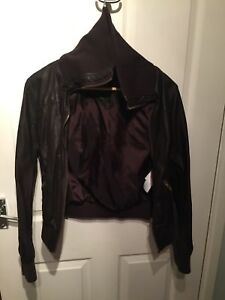 Womens Fake Leather Jacket Brown Size 12 New Look Ebay