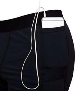 e02492c70cc0a9 NEW~Men LARGE~BLACK~COMPRESSION~Workout Shorts with Phone Pocket~THE ...