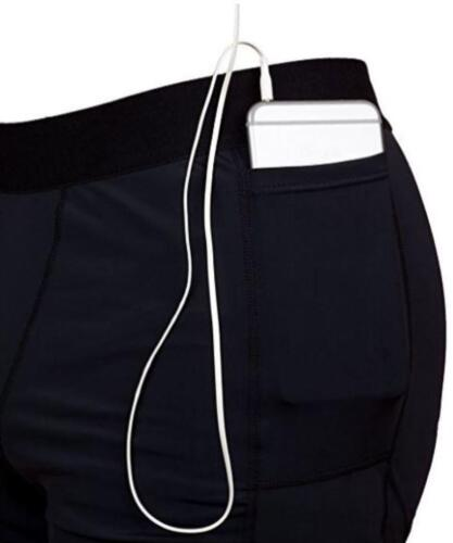 NEW~Men XL to 1X~BLACK~COMPRESSION~Workout Shorts with Phone Pocket~THE II BRO