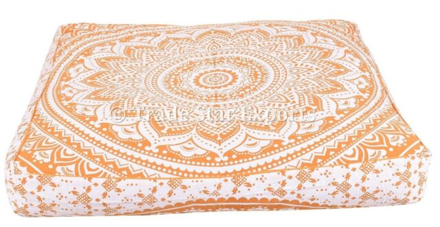 Indian Large Mandala Floor Pillow Poufs Decorative Meditation Box Cushion Covers