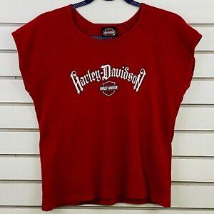 Womens-M-Harley-Davidson-Tee-Red-T-Shirt-Orlando-Florida-USA-Short-Sleeve