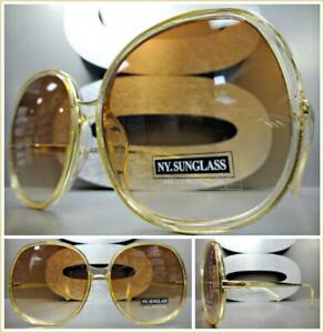 EXAGGERATED OVERSIZE VINTAGE RETRO Style SUN GLASSES Gold Frame Pink Mirror Lens