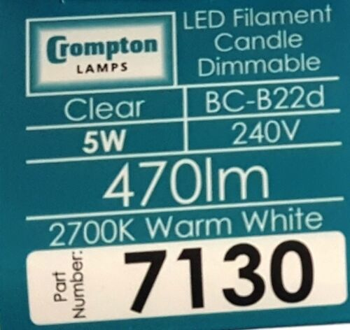 5 x 5 W BC Bougie DEL Filament Crompton Blanc Chaud Dimmable 470 lm 7130 Ampoule