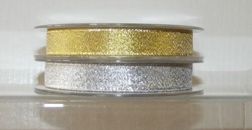 "wide 1m Metallic Glitter Organza Ribbon 14mm 2m 5m Gold Silver Lurex 1//2/"""