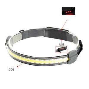 COB LED Headlamp USB Rechargeable Headlight Head Lamp Torch Light 350 Lumens