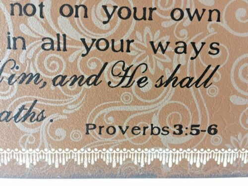 Trust in The Lord Wood Look Inspirational Wall Art Table Top Proverbs 3:5-6