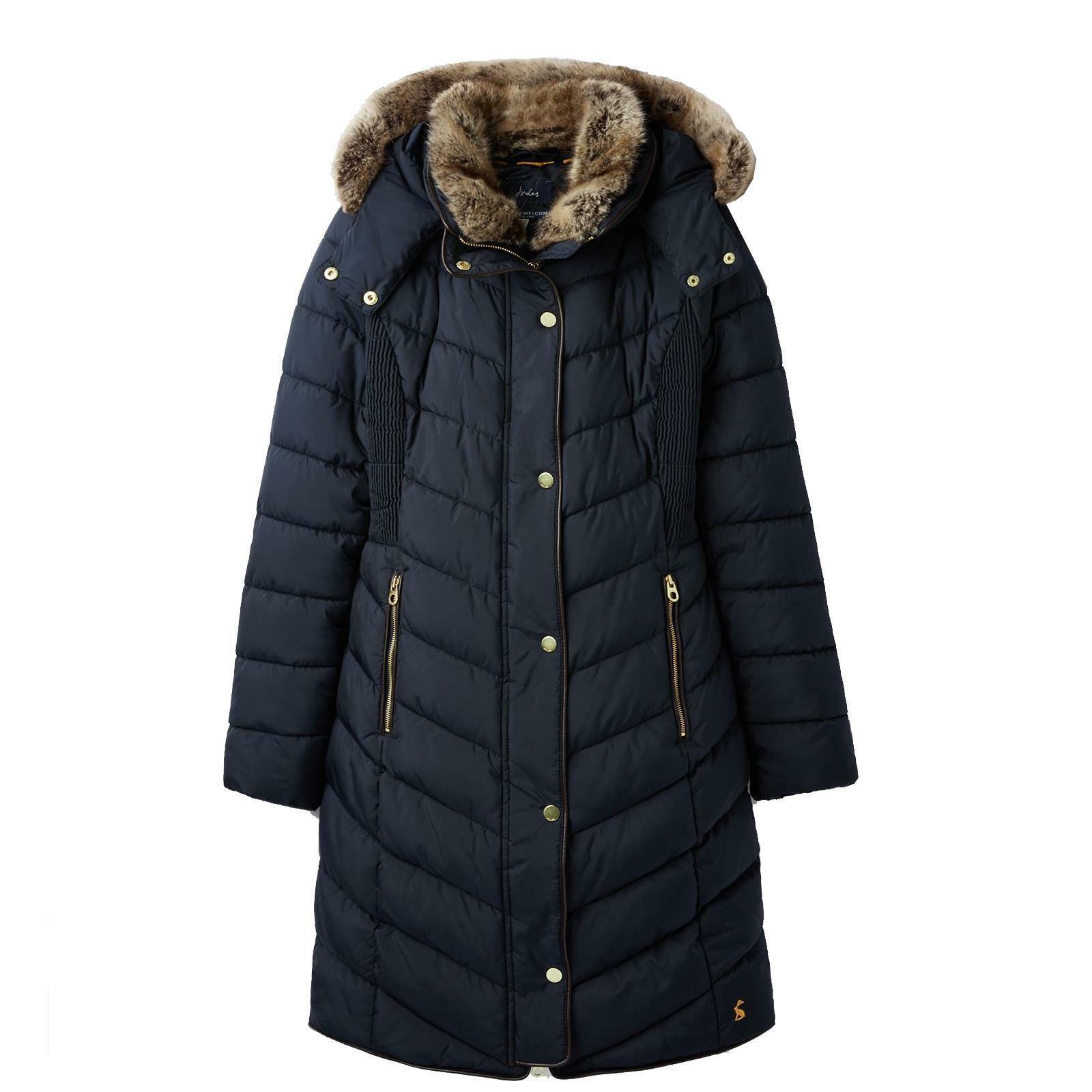 Joules CheRington Paded Chevron Quilt Longline Coat Buitenshuis Snow Fur Trim Hood