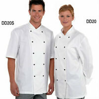 Dennys Lightweight White Chef Jacket Removable Studs With Free Packet Of White