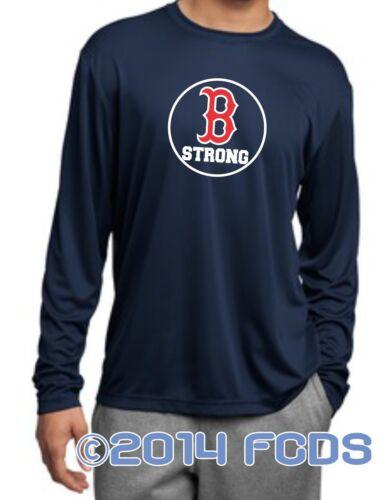 B Strong Boston Marathon Men/'s Comp Long Sleeve Navy T-Shirt Tribute to Runners