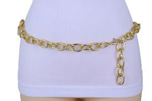 Women-Gold-Metal-Chunky-Oval-Chain-Fashion-Waistband-Belt-Retro-Sexy-Size-XS-S-M