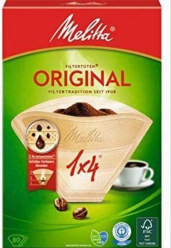 80 Plastica Melitta Pack Originale Taglia 1x4 Marrone Filtro COFFEE MAKERS