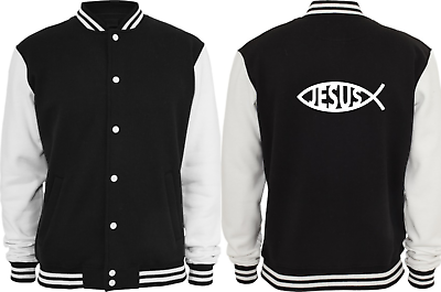 2019 Neuer Stil Collegejacke - God Jesus Fish Chritian Sign ( Sprüche / Lustig / Fun / Spaß ) Hell In Farbe