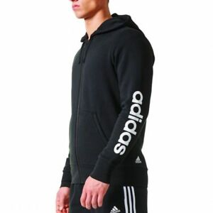 ADIDAS-ESSENTIALS-LINEAR-FULL-ZIP-HOODIE-SUDADERA-TRAINING-ORIGINAL-BR4058-NEGRO