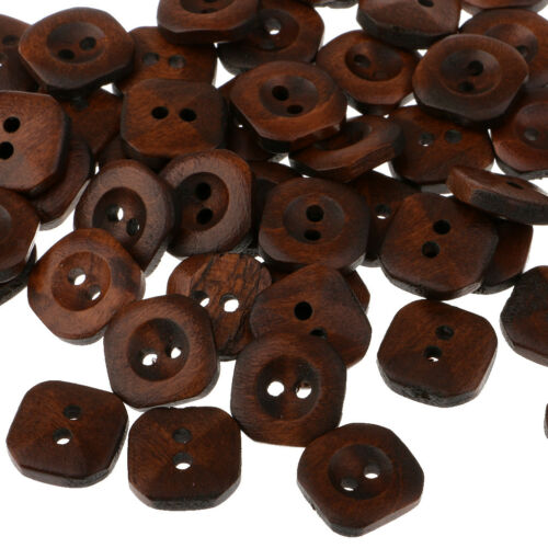 100pcs Square Wooden 2 Holes Buttons for Sewing Decoration Scrapbooking 13mm