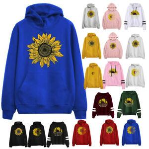 Women/'s Sunflower Print Long Sleeve Hoodie Sweatshirt Hooded Pullover Top Blouse