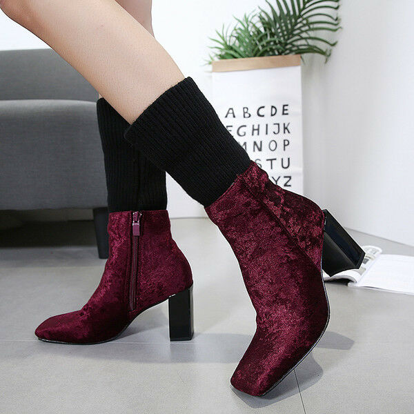 consegna gratuita e veloce disponibile Stivali stivaletti bassi  stiletto 8 8 8 cm caviglia rosso comodi simil pelle 9576  salutare