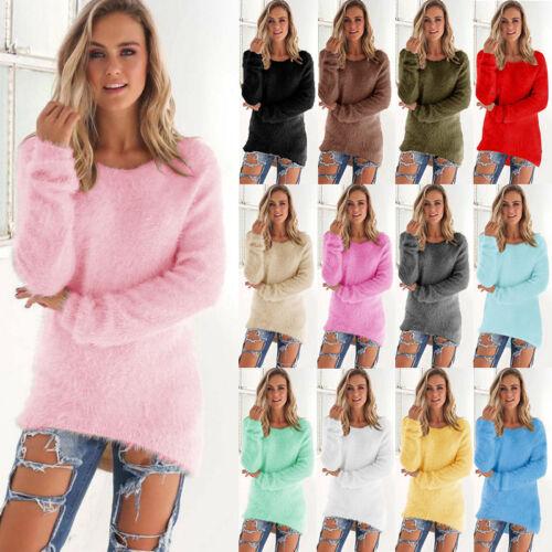 pullover maglione del delle lanoso del lunga lanuginoso maglie signore della manica maglione delle Camicetta donne di del inverno delle qx6wtRPT