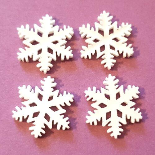 20 GLITTER SNOWFLAKE CABOCHONS 20MM-RESIN FLATBACK CABOCHON-CHRISTMAS//WINTER