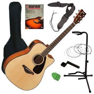 Yamaha FGX800C Acoustic-Electric Guitar - Natural GUITAR ESSENTIALS BUNDLE