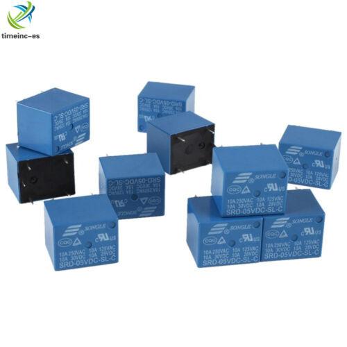 10pcs Mini Power Relay DC 5V SRD-5VDC-SL-C SRD-5VDC-SL-C PCB NEW