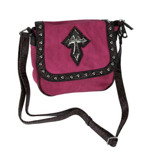 Textured Trim Gothic Cross Zeckos Shoulder Bag with Studs