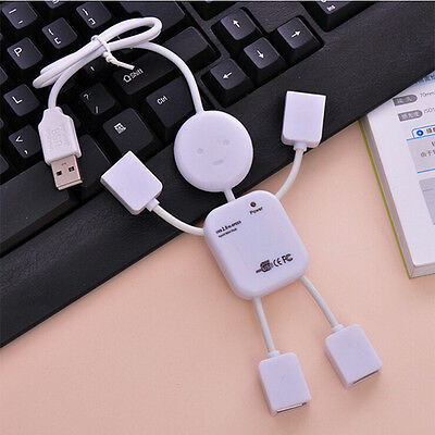 4 Port Hub High-Speed USB 2.0 Humanoid Splitter Cable Adapter for Laptop PC Over