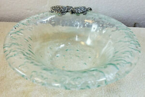 Vintage-Aqua-Recycled-Glass-Bowl-With-Metal-Turtle-Accent-Beach-House-Ocean-Sea