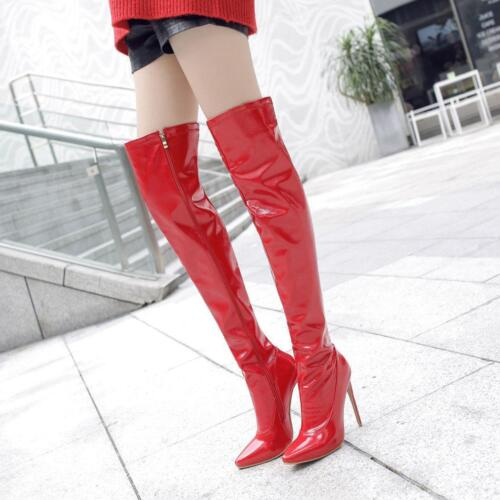 Details about  /Plus Ladies Zip High Heel Pointed Toe Stiletto Over Knee Boots Shoes Sz47 DX01