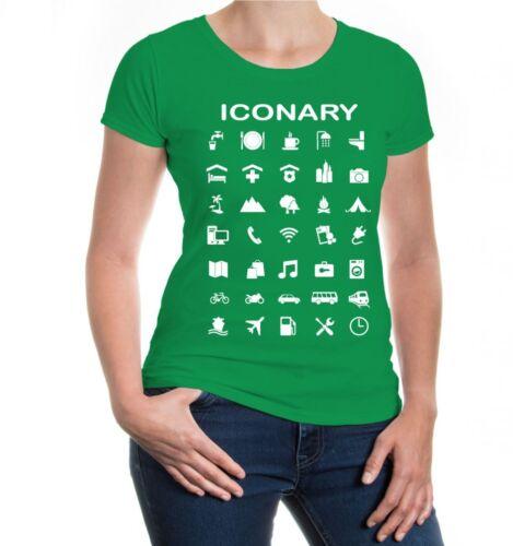 Damen Kurzarm Girlie T-Shirt Iconary Icons Reiseführer Symbole Urlaub icons
