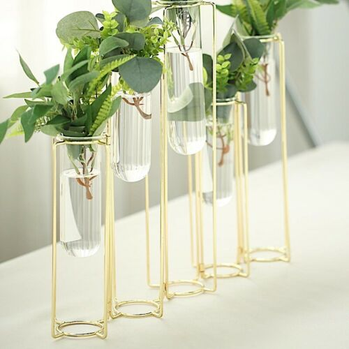 """14/"""" long GOLD 5 Jointed Geometric Flower Vase Holders with Glass Test Tubes Sale"""