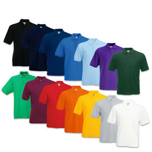 kurzarm Shirt Fruit of the Loom 65//35 Polo rundhals Herren Pique Poloshirt