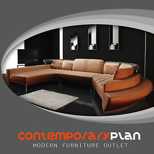 Details about Burnt Orange Curved Chaise Leather Modern Sofa Contemporary  Design Taupe NEW