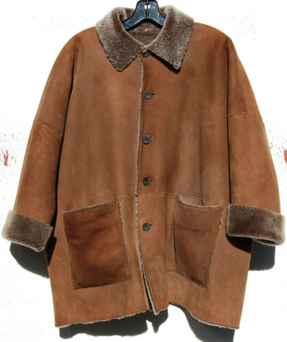 Eskandar CAMEL Suede Leather Shearling Classic Col