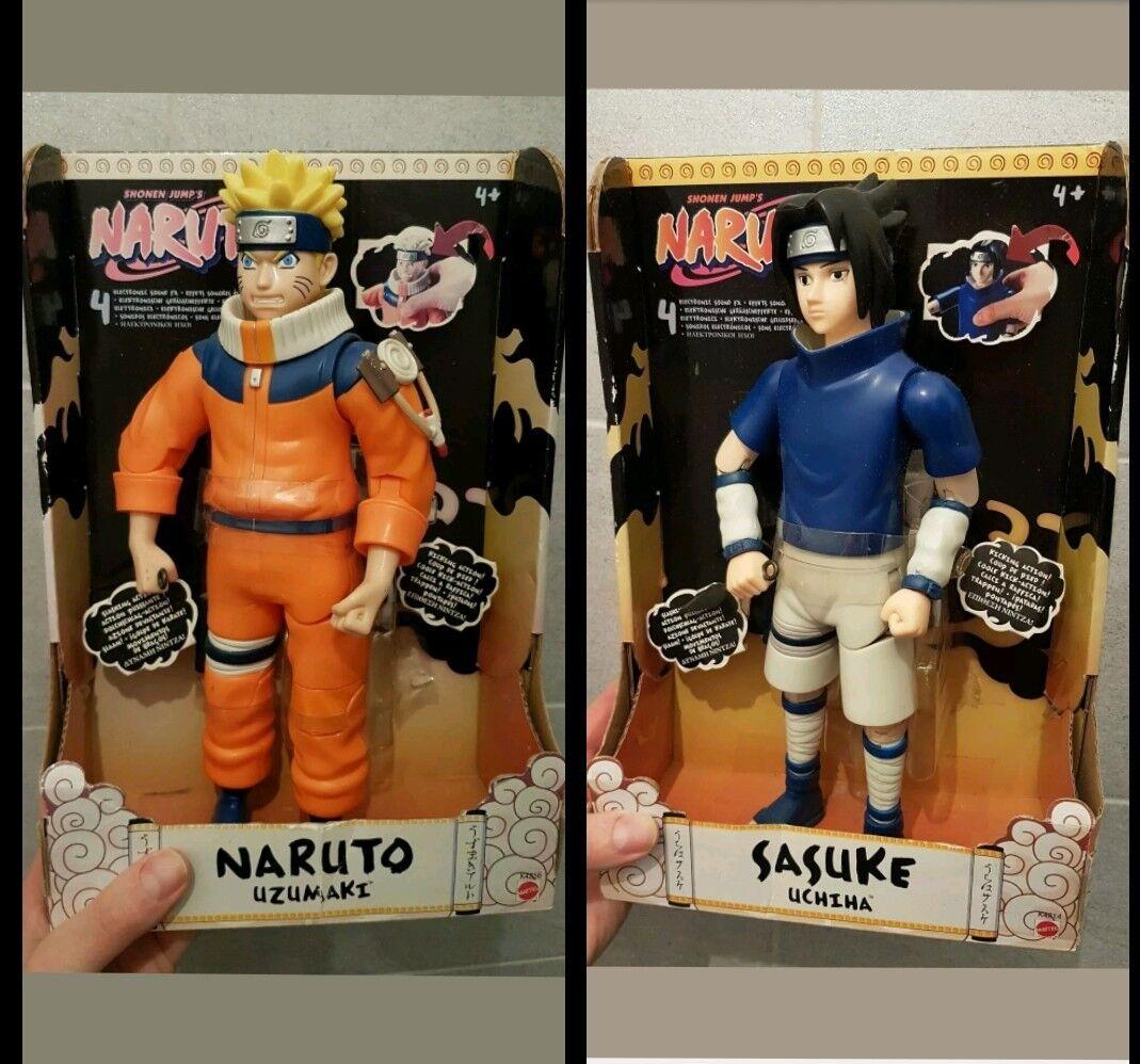 Lotto di 2 personaggi-Naruto & Sasuke azumaki 32cm con suoni 2006 mattel NUOVi