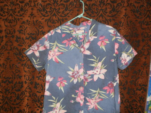 Jamaica Bay, Woman's Light, Pretty Hawaiian Style Blue Floral Blouse, Sz L by Jamaica Bay