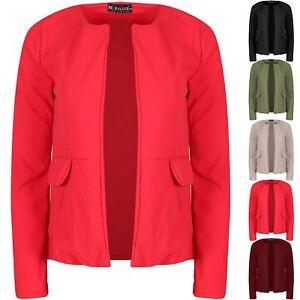 100% De Qualité Femme Plain Casual Open Front Poches Latérales Blazer Manches Longues Femmes Cardigan