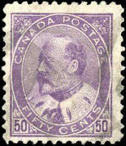 1908-Used-Canada-50c-F-Scott-95-King-Edward-VII-Stamp