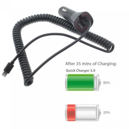 QC3.0 QUICK CAR CHARGER FAST DC PLUG-IN USB PORT COILED For iPHONE iPAD iPOD