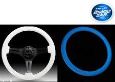 NRG Steering Wheel Glow Blue in the Dark 350mm Classic Wood Grain ST-015BK-GL/BL