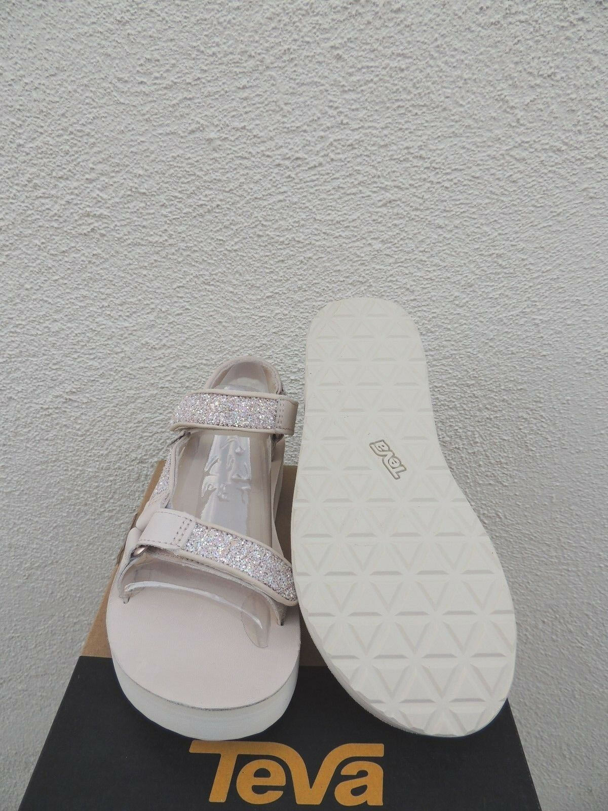 TEVA MIDFORM UNIVERSAL GLAM PINK TINT GLITTER LEATHER SANDALS, US EUR 7/ EUR US 38 NEW 8762d3