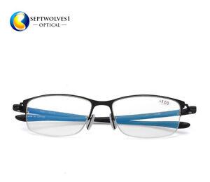 980bfc4a834 Half Rimless Blue Light Blocking Lens Reading Glasses for Computer + ...