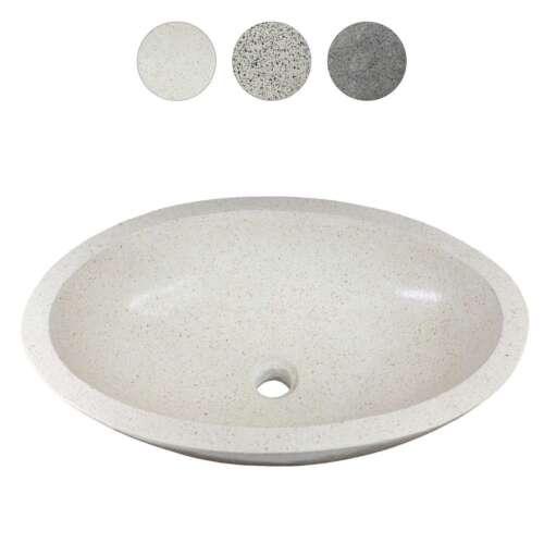 Terrazzo Waschbecken Handwaschbecken Steinbecken Gäste Bad ca 60 cm Stein Oval
