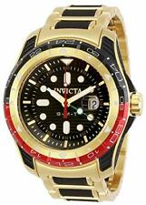 Invicta Men's 29582 Gold & Black Hydromax Quartz 3 Hand Black Dial GMT Watch