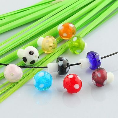 20PCS Mini Motley Mushroom Lampwork Glass Loose Beads Mixed at random