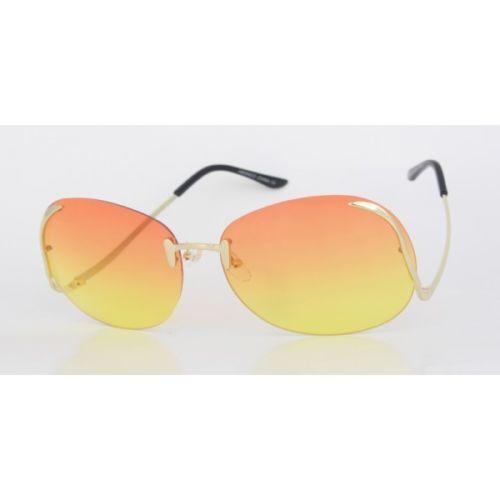 2754bb2a82b Oversize Vintage Retro Style Sunglasses Upside Down Gold Frame Orange Yellow  Len