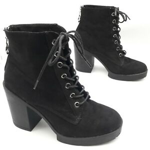 Select-Women-039-s-Ladies-Black-Suede-Ankle-Boots-Lace-Up-Zip-Back-Size-UK-5