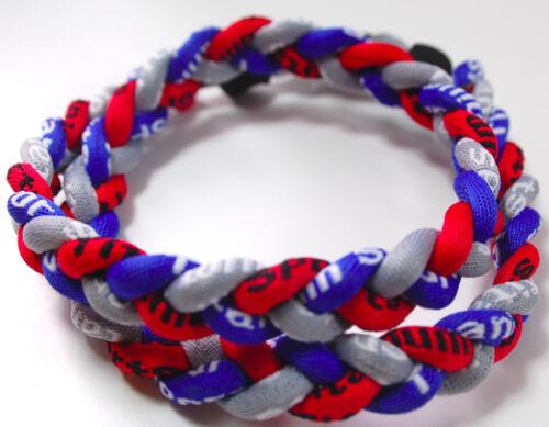 "SALE 18/"" 3 Rope Twist Titanium Sport Necklace Royal Blue Red Gray Tornado Bills"